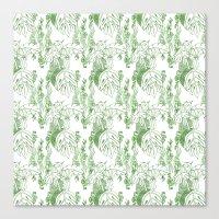 Jamaican Botanicals - Green & White Canvas Print