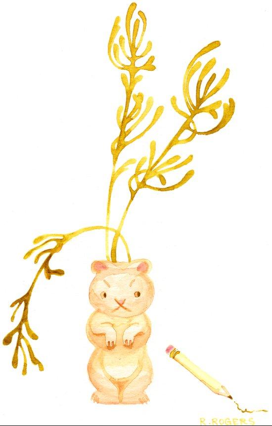 Lil' Woodchuck Planter Art Print