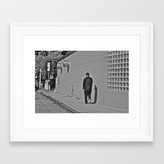 Lonely Man in Black Framed Art Print