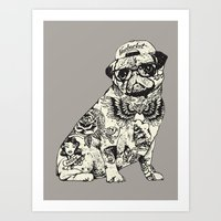 Pug Tattoo Art Print