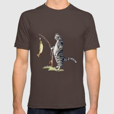 Cat with a Fish Mens Fitted Tee Brown SMALL