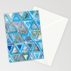 Blue Triangle Map Collage Stationery Cards