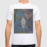 Steer Skull Mens Fitted Tee Ash Grey SMALL