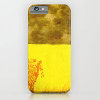 iPhone & iPod Case featuring Cow in yellow field by monjii art