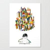 Read A City Canvas Print