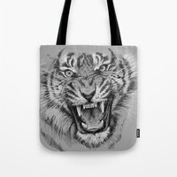 Tiger Drawing Black and White Animals Tote Bag