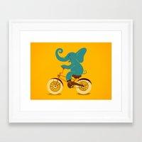 Elephant on the bike Framed Art Print
