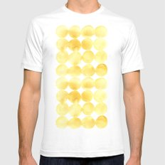 Imperfect Geometry Yellow Circles SMALL Mens Fitted Tee White