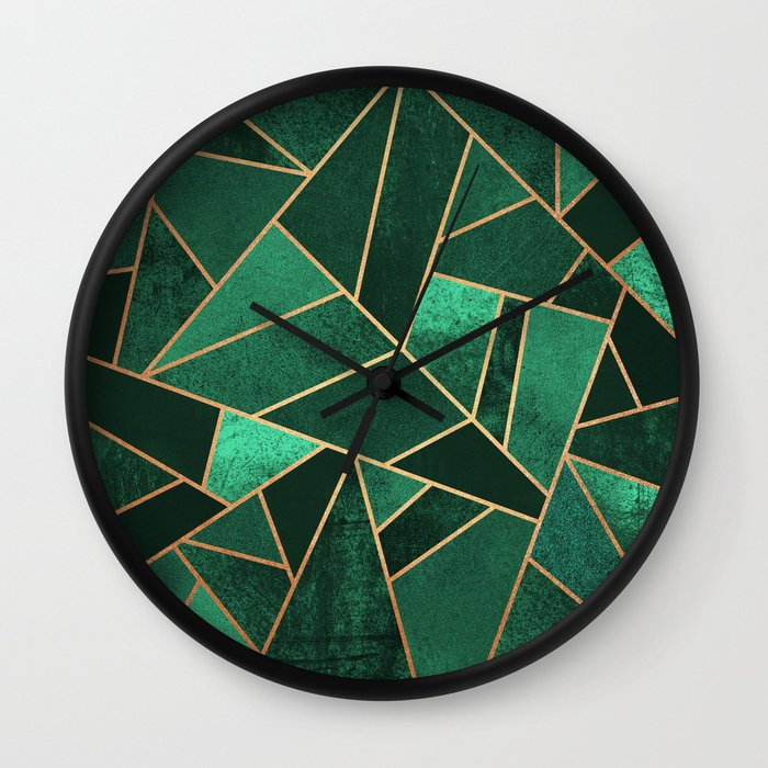 Emerald and Copper Wall Clock by Elisabeth Fredriksson