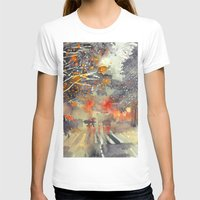 WINTER IN THE CITY Womens Fitted Tee White SMALL
