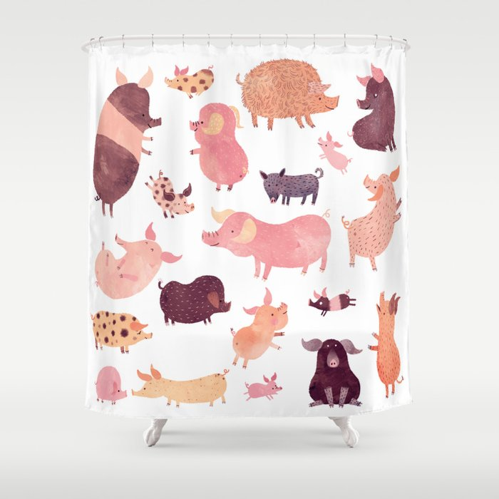 Pig Pig Pig Shower Curtain By Chuck Groenink