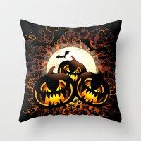 Black Pumpkins Halloween… Throw Pillow