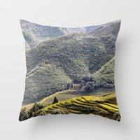 Teraces of Rice Throw Pillow