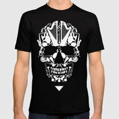 MUSICAL SKULL Black SMALL Mens Fitted Tee