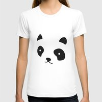Minimalistic Panda face Womens Fitted Tee White SMALL