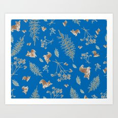blue holiday corgis and twigs Art Print