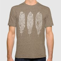 Patterned Plumes - White Mens Fitted Tee Tri-Coffee SMALL