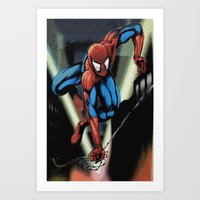 Gritty Spidey Swing Art Print