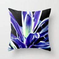 Indigo Blue Flower Throw Pillow