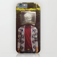 iPhone Cases featuring This TV haze sucks me through. I watch the world from the inside by James Docherty