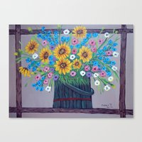Country Flowers Canvas Print