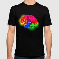 BRAIN SATURATE Mens Fitted Tee Black SMALL