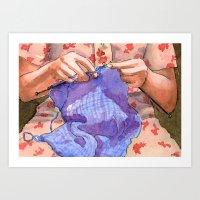 the knitter Art Print
