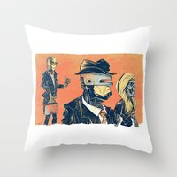 White Collar Robots Throw Pillow