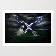 Shark vs. Narwhal  Art Print