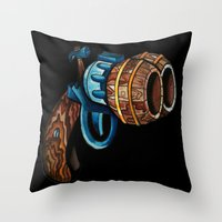 Black Double Barrell Throw Pillow