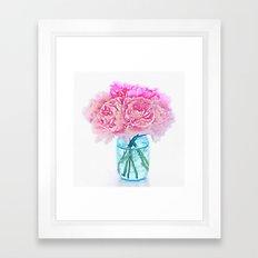 Watercolor Pink Peonies Flowers in Vase Print Framed Art Print