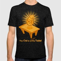 The Cat is over the Table Mens Fitted Tee Tri-Black SMALL
