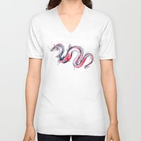 V-neck T-shirt featuring Koi Dragon by Goosi