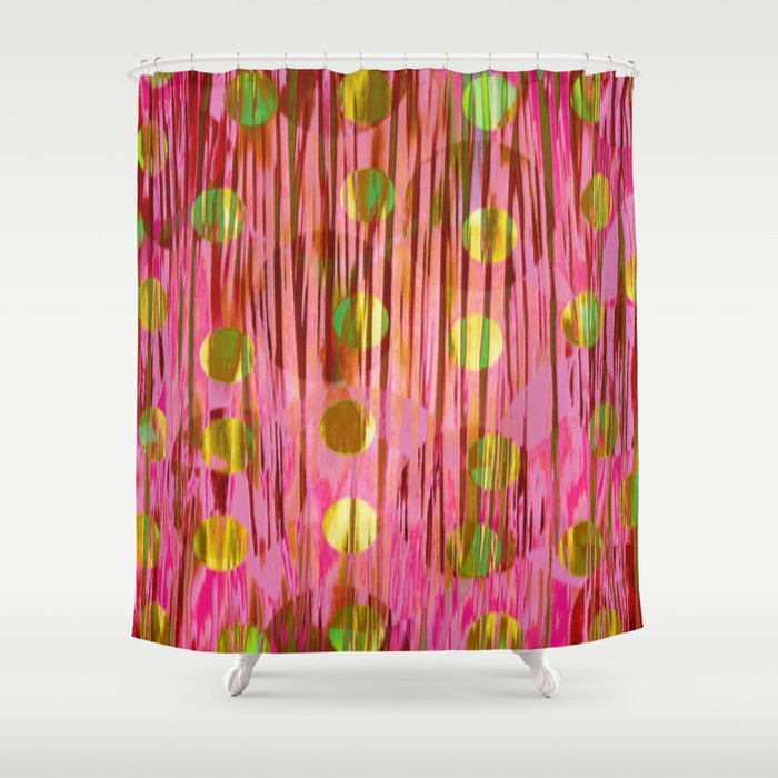 Stripes Dots In Pink Gold Shower Curtain By Klara Acel Society6