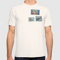 Postage Bleu Mens Fitted Tee Natural SMALL