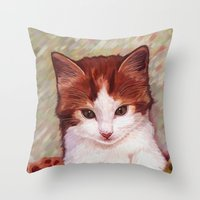 Copper Kitten Throw Pillow