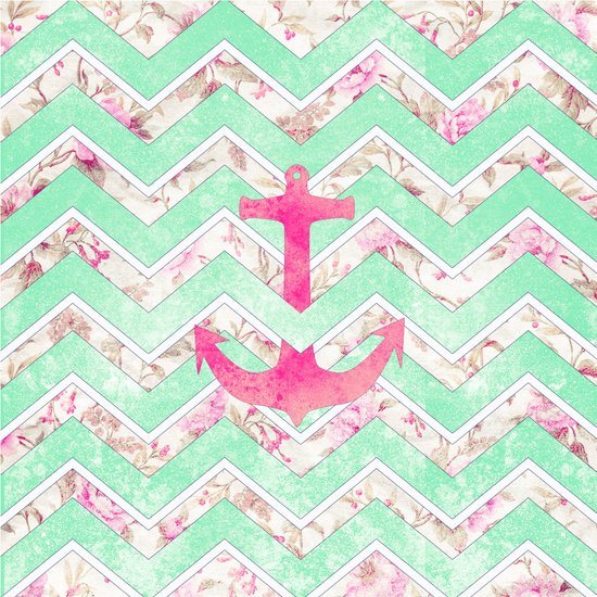 Pink Nautical Anchor Teal Floral Chevron Pattern Art Print