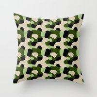 Green Camo Pattern Throw Pillow