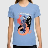 The Knight, Death, & the Devil Womens Fitted Tee Tri-Blue SMALL