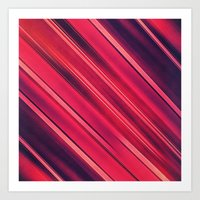 Moder Red / Black Stripe  Abstract Stream Lines Textuer Design  Art Print