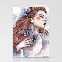 Girl With A Butterfly II… Stationery Cards