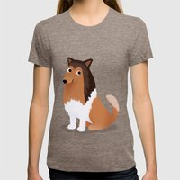 Collie - Cute Dog Series Womens Fitted Tee Tri-Coffee SMALL