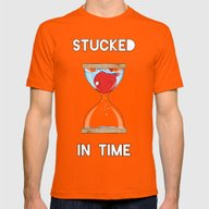 Stucked In Time Mens Fitted Tee Orange SMALL