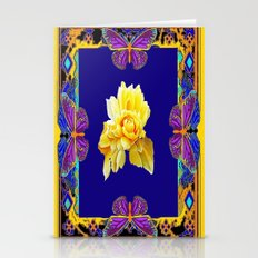 Cobalt Blue-Yellow Rose &  Purple Butterfies Decoative Gold  Pattern Stationery Cards