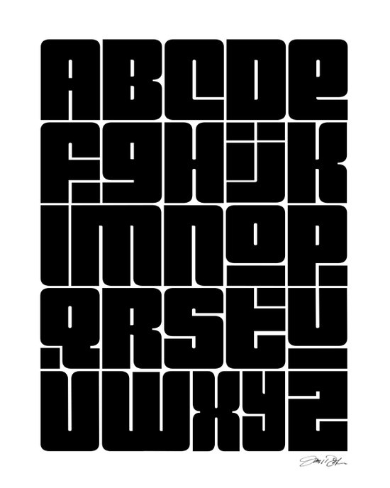 Alphabet Black Art Print