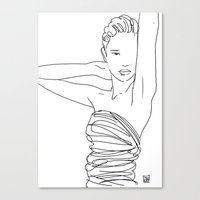 Line Art Lady Canvas Print