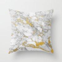Gold Flecked Marble Throw Pillow