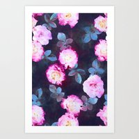 Twilight Roses Art Print