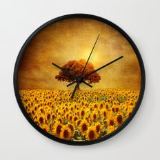 Lone Tree & Sunflowers F… Wall Clock