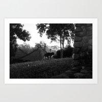 Balinese monkey ascending slope Art Print
